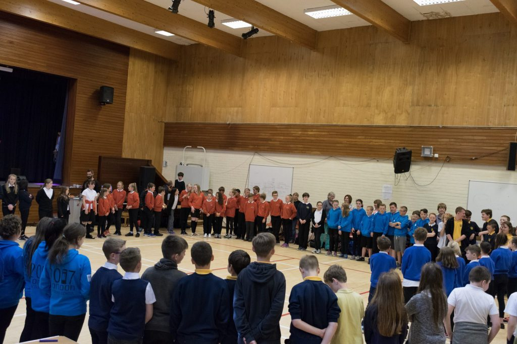 Pupils at Banff Academy take part in a rhythmics exercise.